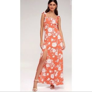 Coral Floral Maxi Dress w/ slit by Sage the Label